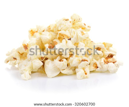 fresh tasty popcorn isolated on white background. - stock photo