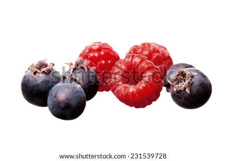 fresh tasty red raspberry and black currant isolated on white background - stock photo