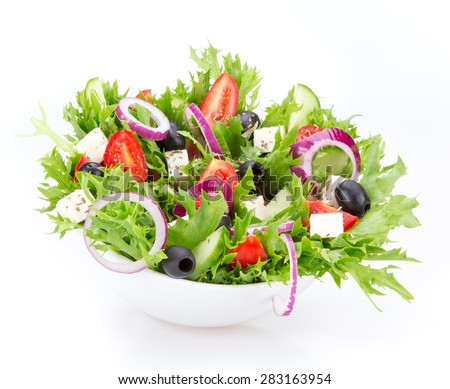 Fresh tasty salad isolated on white background - stock photo