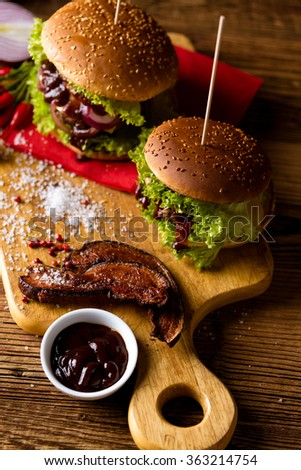 Fresh, tasty, traditional burgers, BBQ time