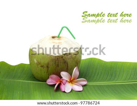 fresh tender green coconut drink on white background with sample text - stock photo