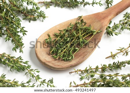 Fresh Thyme into a spoon isolated in white background
