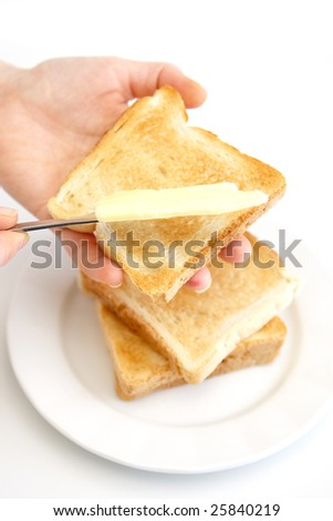 Fresh toasts with butter