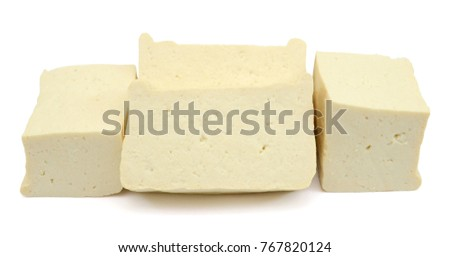 Fresh tofu isolated on white background