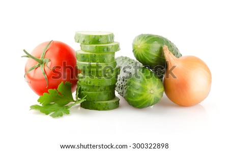 Fresh Tomato, Cucumbers, Onion and Parsley isolated on white background - stock photo