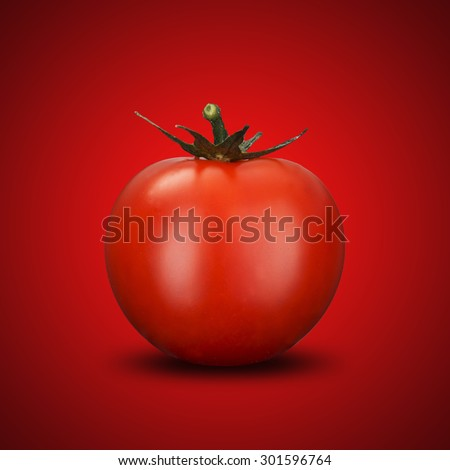 Fresh Tomato On Red Background - stock photo