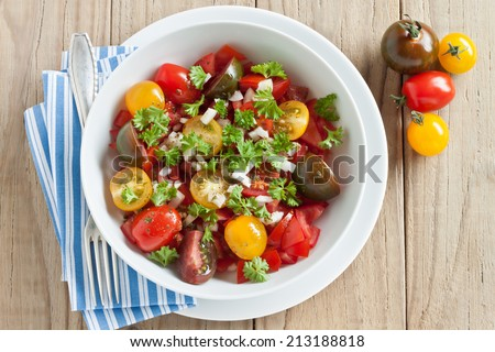 Fresh tomato salad with onion and parsley - stock photo
