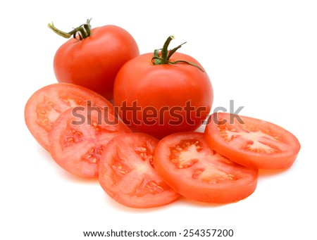 fresh tomato vegetables isolated on white - stock photo