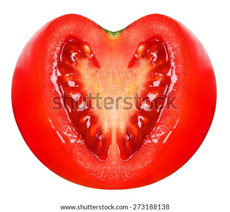 Fresh tomato with heart shaped cutted section isolated on white background - stock photo