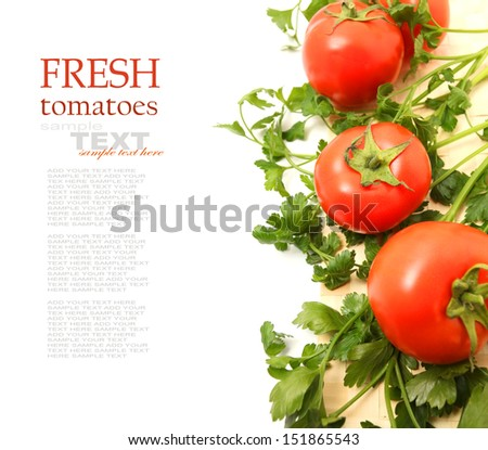 Fresh tomato with parsley isolated on white