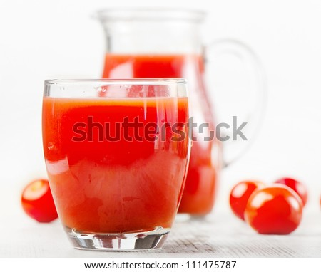 Fresh tomatoes and juice .Closeup