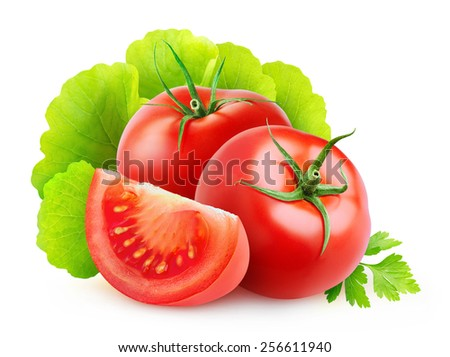 Fresh tomatoes and lettuce leaves isolated on white - stock photo