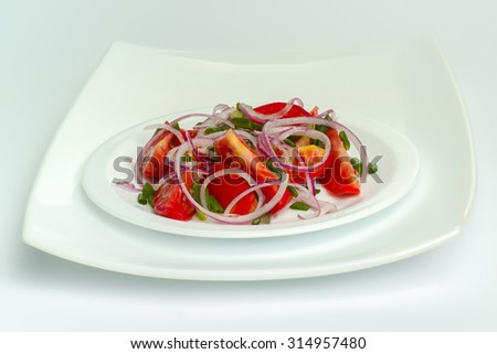 Fresh tomatoes and onions - stock photo