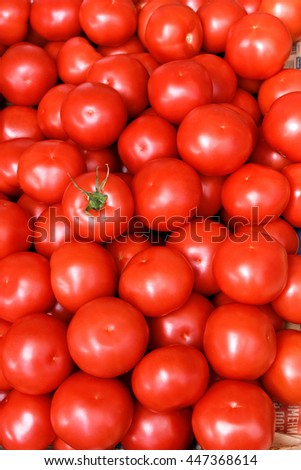 Fresh tomatoes as background. Close up, Top view, High resolution product.