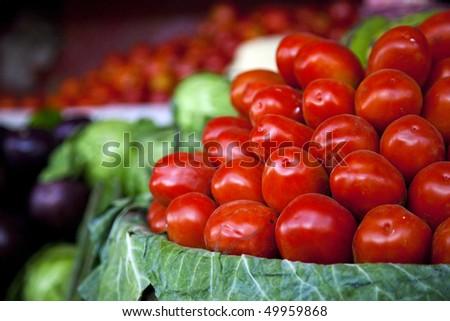 fresh tomatoes at the Mumbai Central Market - stock photo