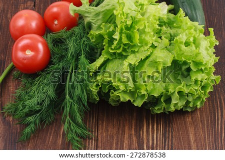 fresh tomatoes, fennel, cucumber and lettuce on the board - stock photo