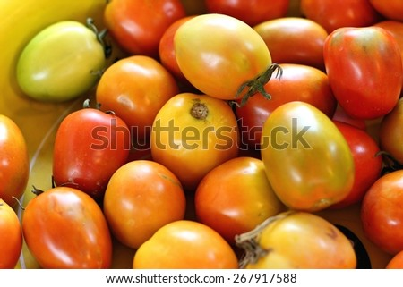 Fresh tomatoes in the market - stock photo