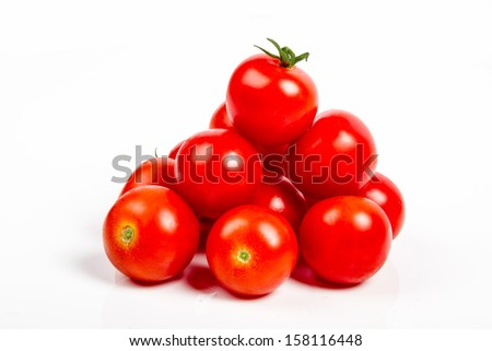 fresh tomatoes isolated on white background - stock photo