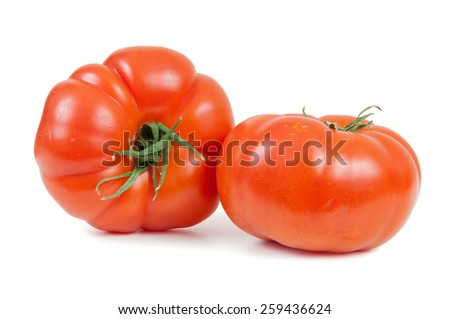 Fresh tomatoes isolated on white background with clipping path - stock photo