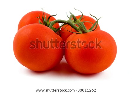 Fresh tomatoes isolated on white. There are small water droplets on tomatoes since they have just taken out from fridge.