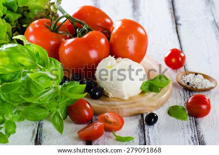 Fresh tomatoes, mozarella and basil ingredients fir salad on whi - stock photo