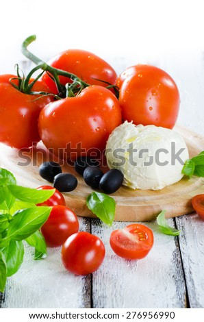 Fresh tomatoes, mozarella and basil ingredients for salad on white