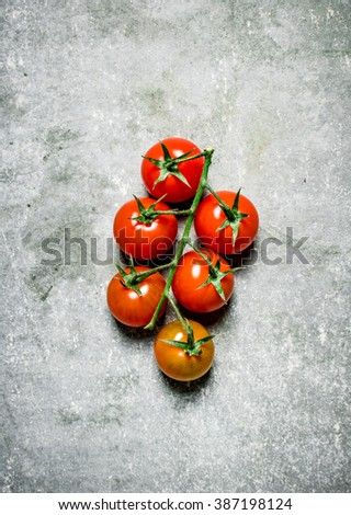 Fresh tomatoes on a branch. On a stone background.  - stock photo
