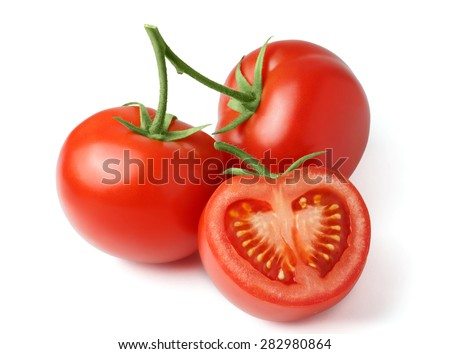 Fresh tomatoes on a green stem and cut a slice isolated on white background. Close-up, side view - stock photo