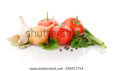 Fresh Tomatoes, Onion, Garlic and Parsley on white background - stock photo