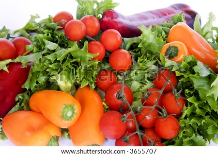Fresh tomatoes, peppers and lettuce.