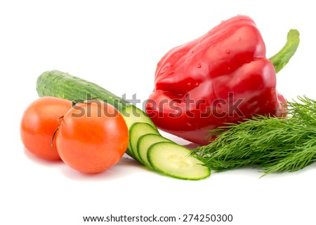 Fresh tomatoes sliced cucumber and red pepper isolated - stock photo