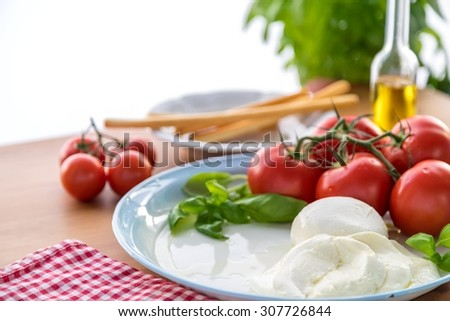 Fresh Tomatoes with mozzarella cheese, basil and olive oil in a bottle - stock photo