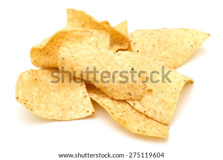 fresh tortilla chips on white background  - stock photo