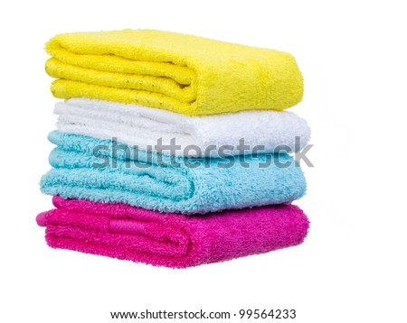Fresh towels stack general view on white background