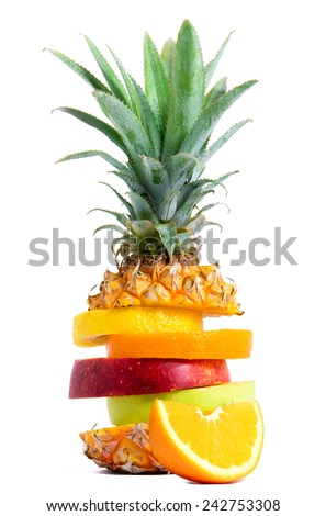 Fresh Tropical Fruit mix - stock photo