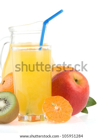 fresh tropical fruits and juice in glass isolated on white background