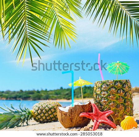 fresh tropical fruits by the shore under a palm branch - stock photo