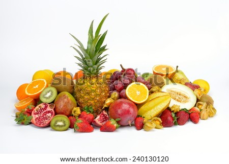 fresh tropical fruits in studio - stock photo