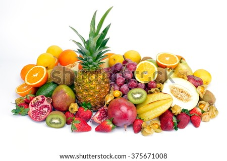 fresh tropical fruits isolated on white background - stock photo