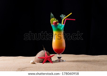 Fresh tropical sex on the beach cocktail with shaker - stock photo