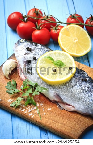 fresh trout with spices - stock photo