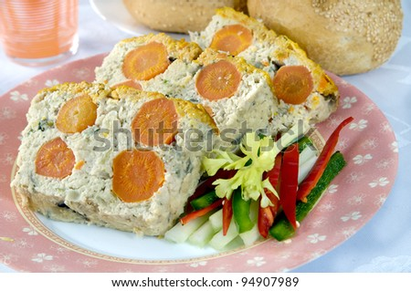 fresh turkey pate with carrots - stock photo