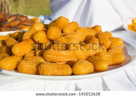 Fresh Turkish sweet delights - stock photo