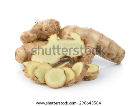 fresh turmeric on white background - stock photo