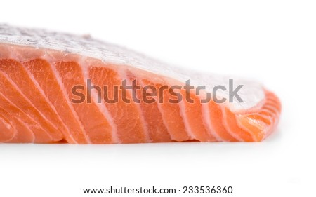 Fresh uncooked fish fillet texture. Isolated on a white background. - stock photo