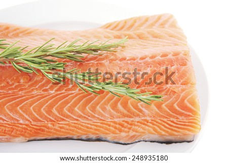 fresh uncooked salmon fillet with rosemary on white - stock photo