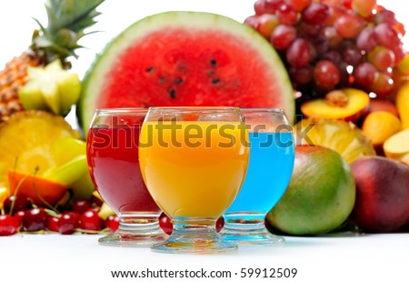 fresh various fruits and juice - stock photo