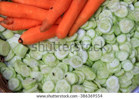 Fresh vegetable cucumber and carrot. - stock photo