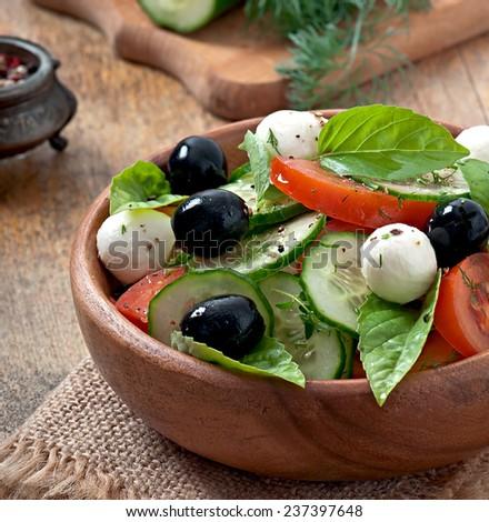 Fresh vegetable greek salad, close up - stock photo