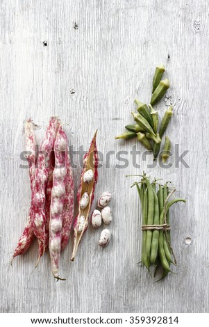 fresh vegetable isolated on a old wood - stock photo